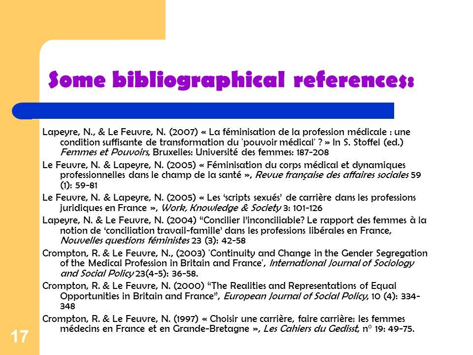 17 Some bibliographical references: Lapeyre, N., & Le Feuvre, N. (2007) « La féminisation de la profession médicale : une condition suffisante de tran
