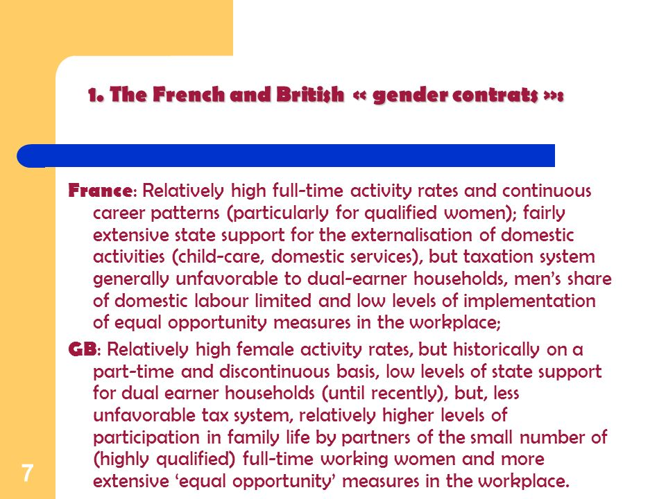 7 3. France : Relatively high full-time activity rates and continuous career patterns (particularly for qualified women); fairly extensive state suppo