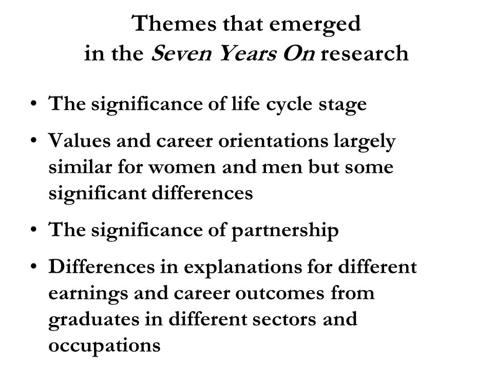 Themes that emerged in the Seven Years On research The significance of life cycle stage Values and career orientations largely similar for women and men but some significant differences The significance of partnership Differences in explanations for different earnings and career outcomes from graduates in different sectors and occupations