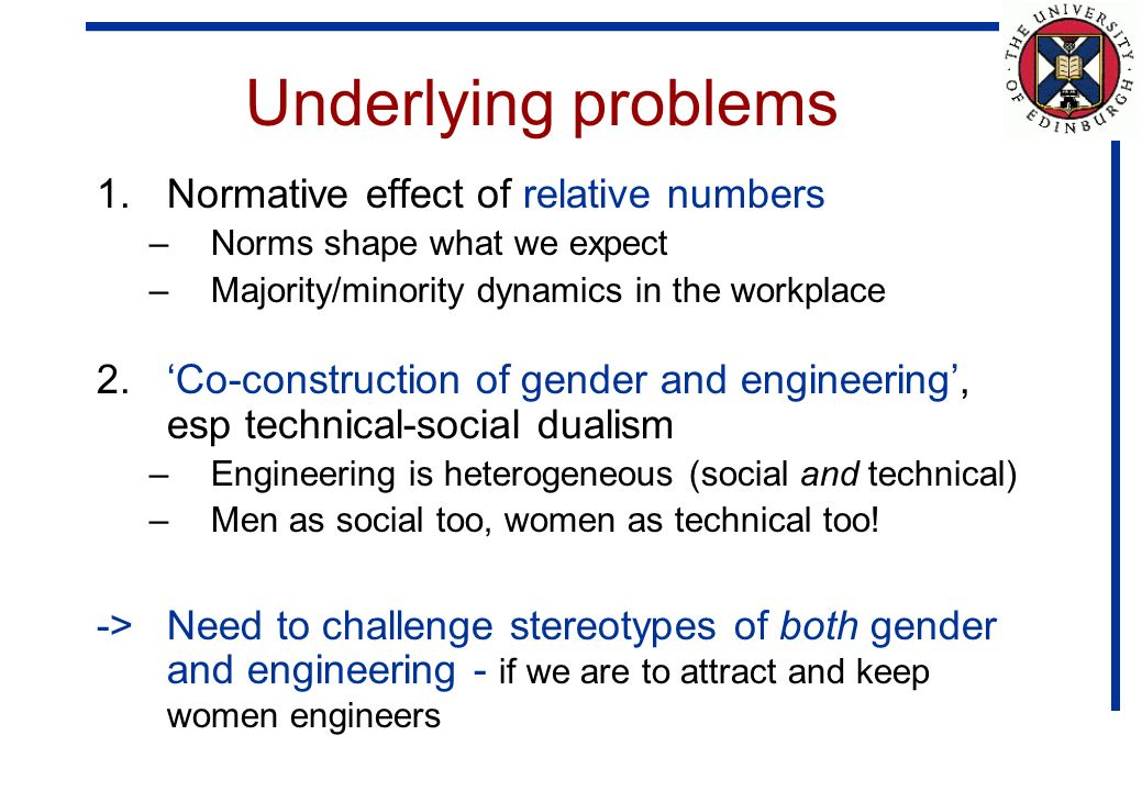 Underlying problems 1.Normative effect of relative numbers –Norms shape what we expect –Majority/minority dynamics in the workplace 2.Co-construction of gender and engineering, esp technical-social dualism –Engineering is heterogeneous (social and technical) –Men as social too, women as technical too.