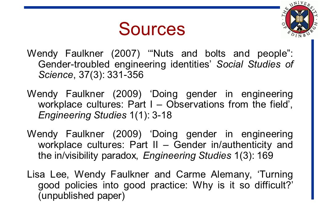 Sources Wendy Faulkner (2007) Nuts and bolts and people: Gender-troubled engineering identities Social Studies of Science, 37(3): 331-356 Wendy Faulkner (2009) Doing gender in engineering workplace cultures: Part I – Observations from the field, Engineering Studies 1(1): 3-18 Wendy Faulkner (2009) Doing gender in engineering workplace cultures: Part II – Gender in/authenticity and the in/visibility paradox, Engineering Studies 1(3): 169 Lisa Lee, Wendy Faulkner and Carme Alemany, Turning good policies into good practice: Why is it so difficult.