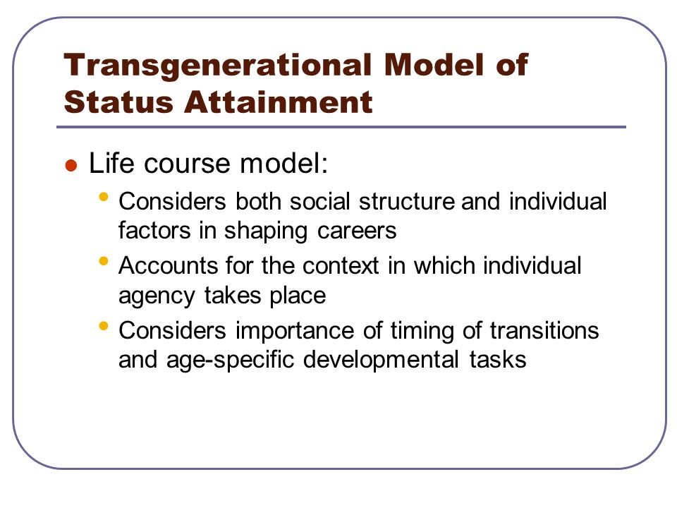 Transgenerational Model of Status Attainment Life course model: Considers both social structure and individual factors in shaping careers Accounts for