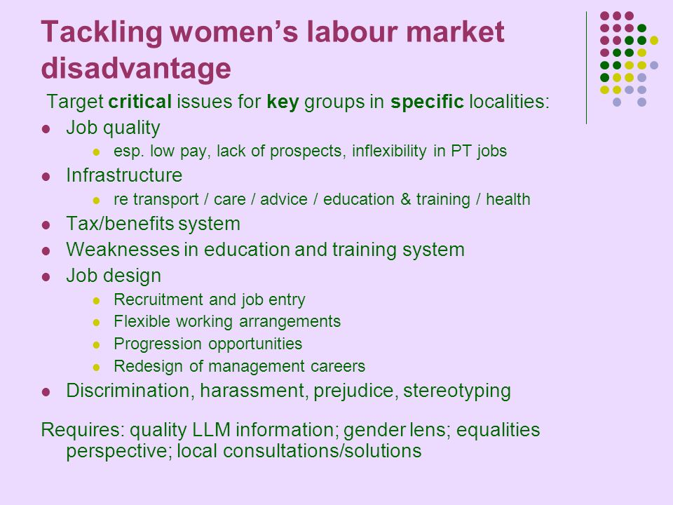 Tackling womens labour market disadvantage Target critical issues for key groups in specific localities: Job quality esp.