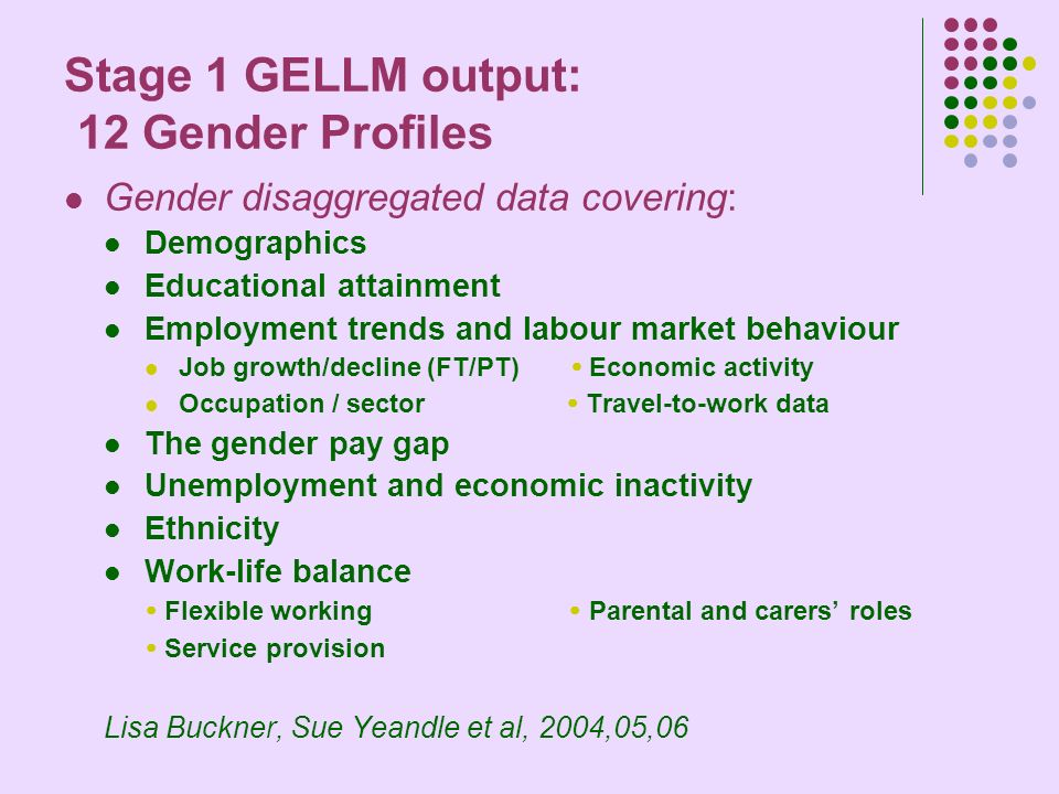 Stage 1 GELLM output: 12 Gender Profiles Gender disaggregated data covering: Demographics Educational attainment Employment trends and labour market behaviour Job growth/decline (FT/PT) Economic activity Occupation / sector Travel-to-work data The gender pay gap Unemployment and economic inactivity Ethnicity Work-life balance Flexible working Parental and carers roles Service provision Lisa Buckner, Sue Yeandle et al, 2004,05,06