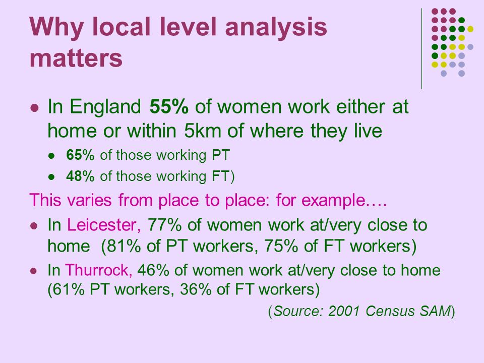 Why local level analysis matters In England 55% of women work either at home or within 5km of where they live 65% of those working PT 48% of those working FT) This varies from place to place: for example….