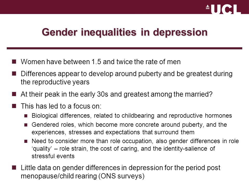 Gender inequalities in depression Women have between 1.5 and twice the rate of men Differences appear to develop around puberty and be greatest during the reproductive years At their peak in the early 30s and greatest among the married.