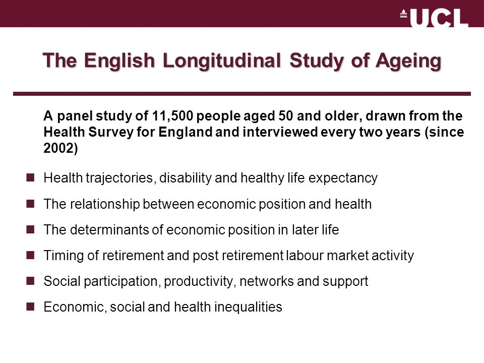 The English Longitudinal Study of Ageing A panel study of 11,500 people aged 50 and older, drawn from the Health Survey for England and interviewed every two years (since 2002) Health trajectories, disability and healthy life expectancy The relationship between economic position and health The determinants of economic position in later life Timing of retirement and post retirement labour market activity Social participation, productivity, networks and support Economic, social and health inequalities