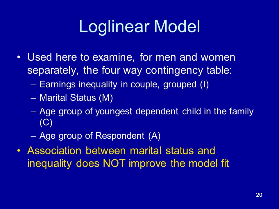 20 Loglinear Model Used here to examine, for men and women separately, the four way contingency table: –Earnings inequality in couple, grouped (I) –Ma