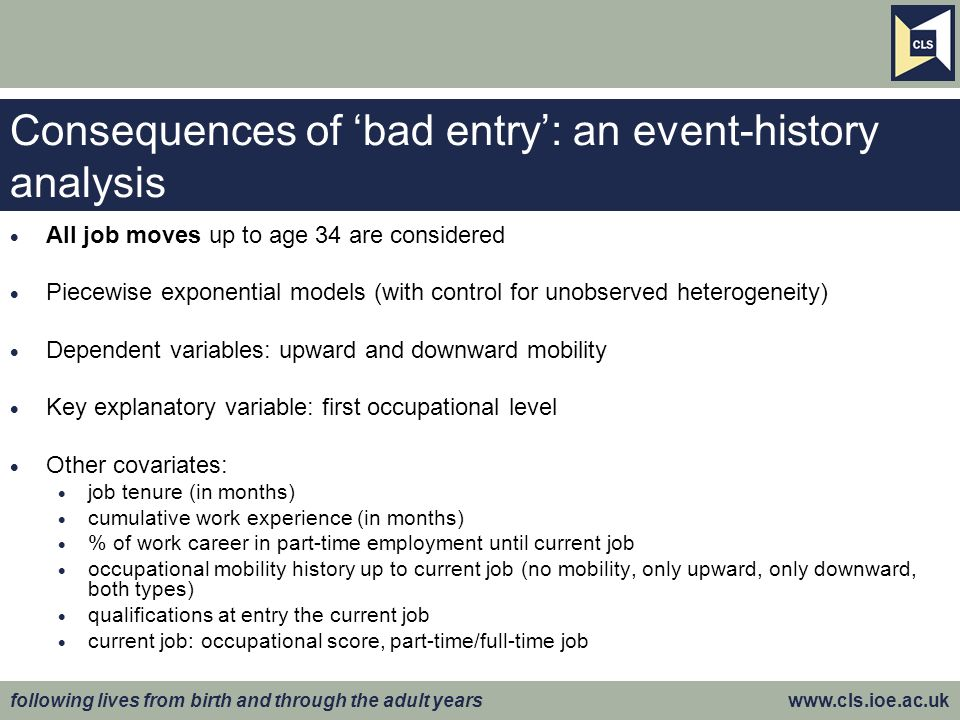 following lives from birth and through the adult years www.cls.ioe.ac.uk Consequences of bad entry: an event-history analysis All job moves up to age