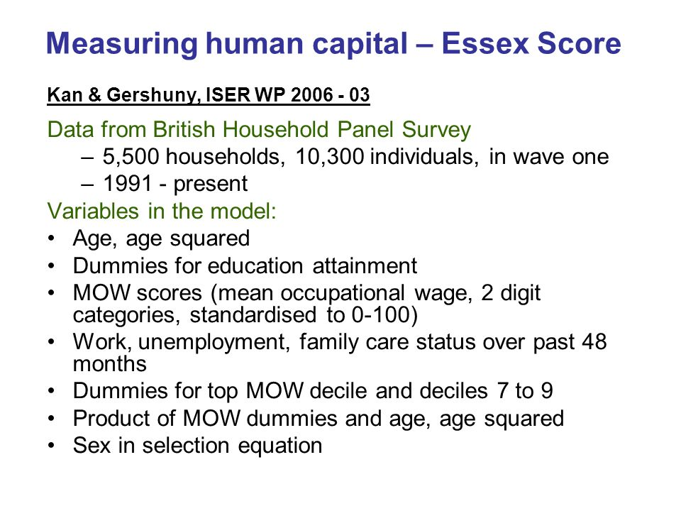 Measuring human capital – Essex Score Kan & Gershuny, ISER WP Data from British Household Panel Survey –5,500 households, 10,300 individuals, in wave one – present Variables in the model: Age, age squared Dummies for education attainment MOW scores (mean occupational wage, 2 digit categories, standardised to 0-100) Work, unemployment, family care status over past 48 months Dummies for top MOW decile and deciles 7 to 9 Product of MOW dummies and age, age squared Sex in selection equation
