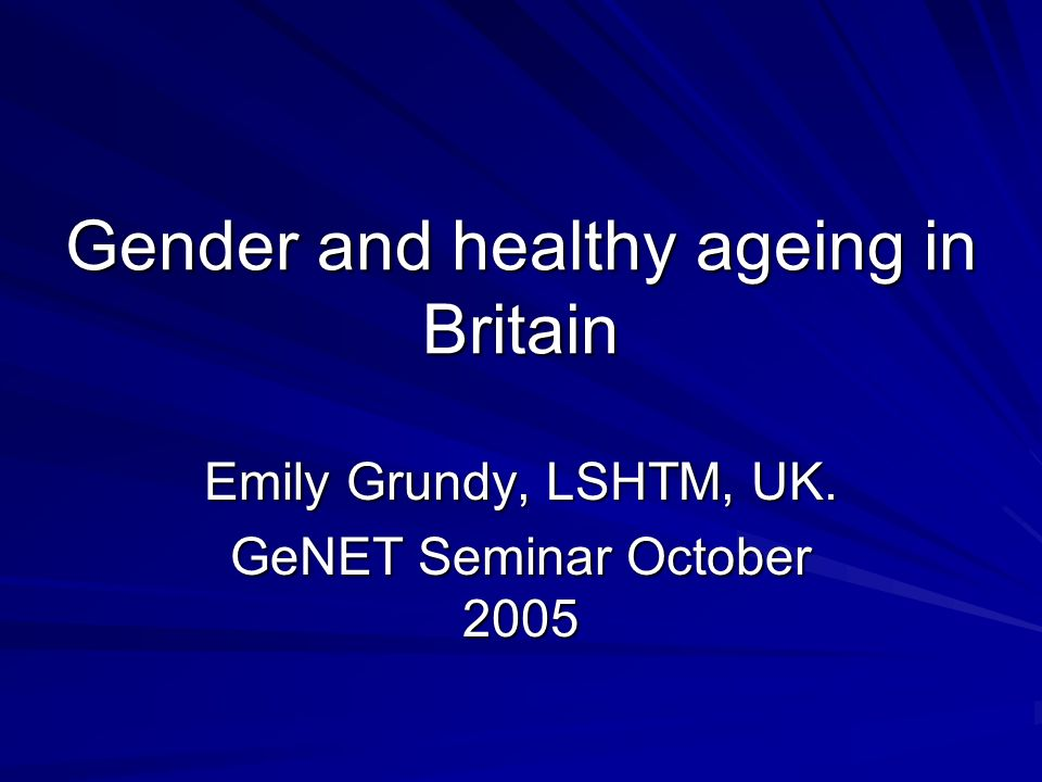 Topics covered Mortality - changing trends Morbidity and disability, including causes of disability Gender, socio-demographic circumstances and health Gender and living arrangements Gender and intergenerational support Gender and IADL performance - changes over time
