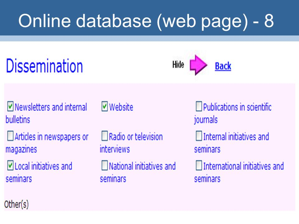 32 Online database (web page) - 8