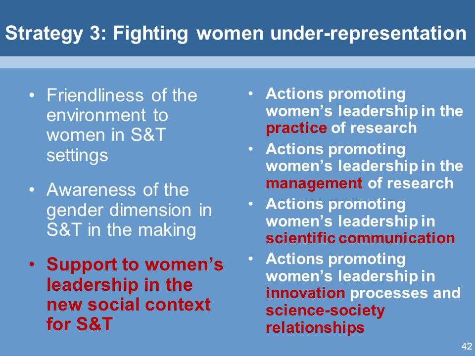 42 Strategy 3: Fighting women under-representation Friendliness of the environment to women in S&T settings Awareness of the gender dimension in S&T in the making Support to womens leadership in the new social context for S&T Actions promoting womens leadership in the practice of research Actions promoting womens leadership in the management of research Actions promoting womens leadership in scientific communication Actions promoting womens leadership in innovation processes and science-society relationships