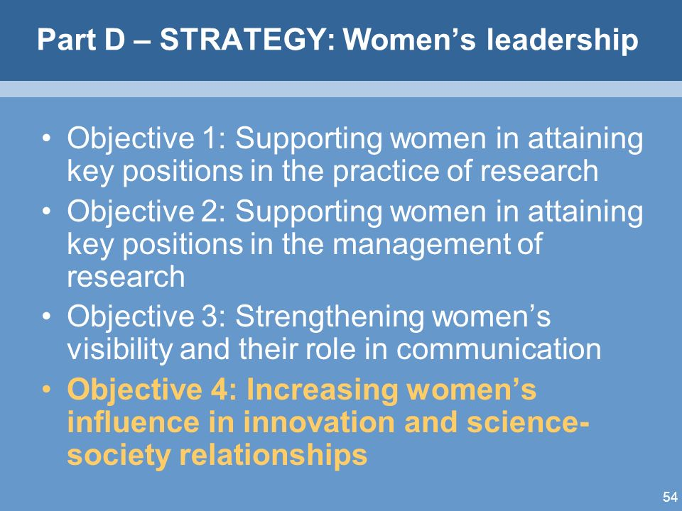 54 Part D – STRATEGY: Womens leadership Objective 1: Supporting women in attaining key positions in the practice of research Objective 2: Supporting women in attaining key positions in the management of research Objective 3: Strengthening womens visibility and their role in communication Objective 4: Increasing womens influence in innovation and science- society relationships