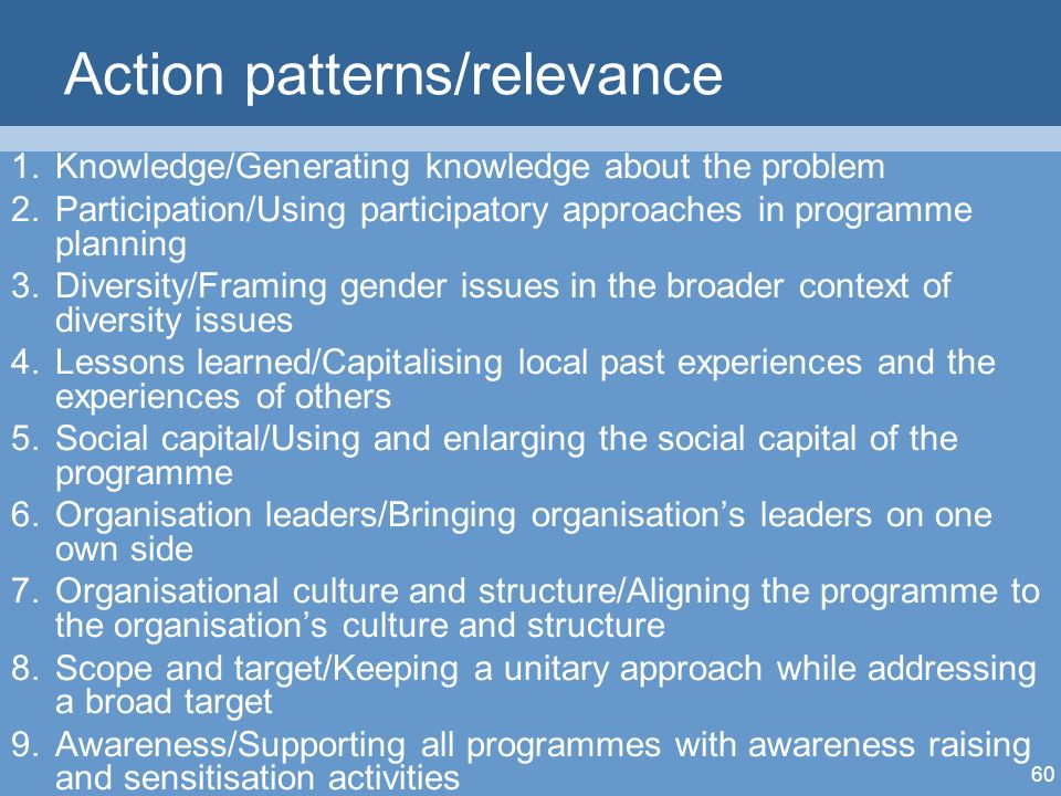 60 Action patterns/relevance 1.Knowledge/Generating knowledge about the problem 2.Participation/Using participatory approaches in programme planning 3.Diversity/Framing gender issues in the broader context of diversity issues 4.Lessons learned/Capitalising local past experiences and the experiences of others 5.Social capital/Using and enlarging the social capital of the programme 6.Organisation leaders/Bringing organisations leaders on one own side 7.Organisational culture and structure/Aligning the programme to the organisations culture and structure 8.Scope and target/Keeping a unitary approach while addressing a broad target 9.Awareness/Supporting all programmes with awareness raising and sensitisation activities