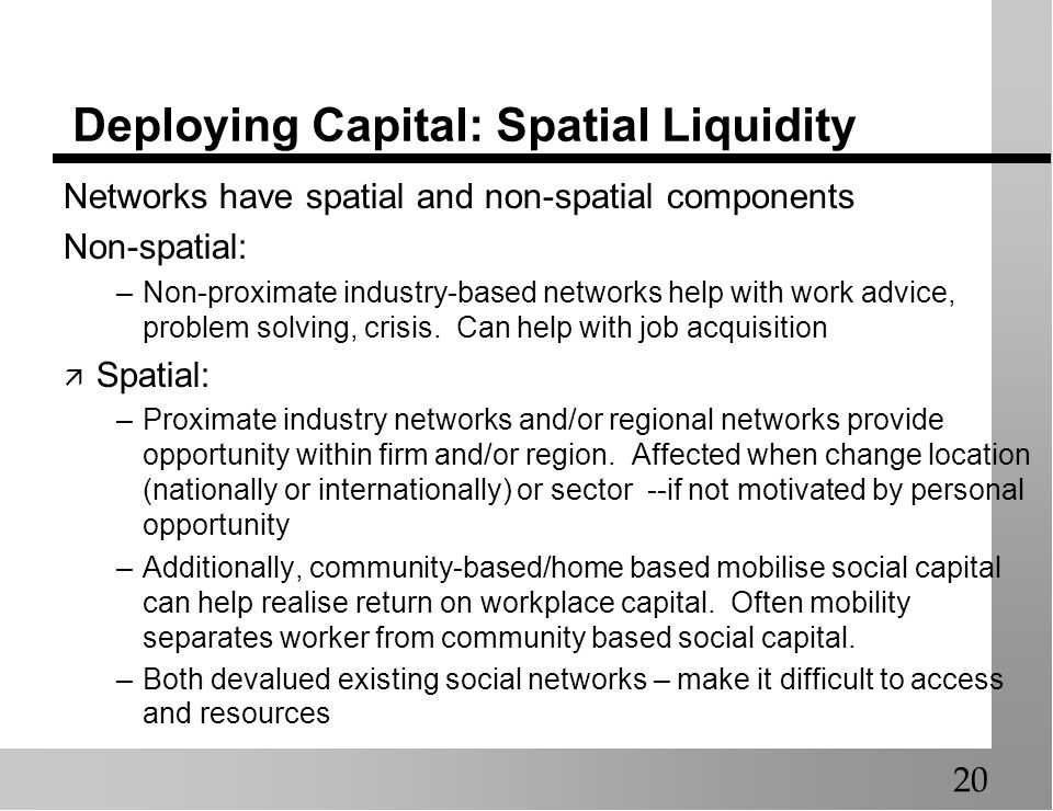 Deploying Capital: Spatial Liquidity Networks have spatial and non-spatial components Non-spatial: –Non-proximate industry-based networks help with wo