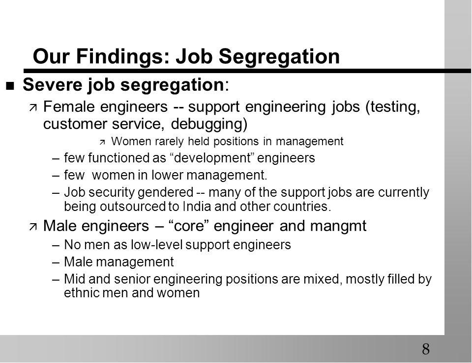 Our Findings: Job Segregation Severe job segregation: Female engineers -- support engineering jobs (testing, customer service, debugging) Women rarely