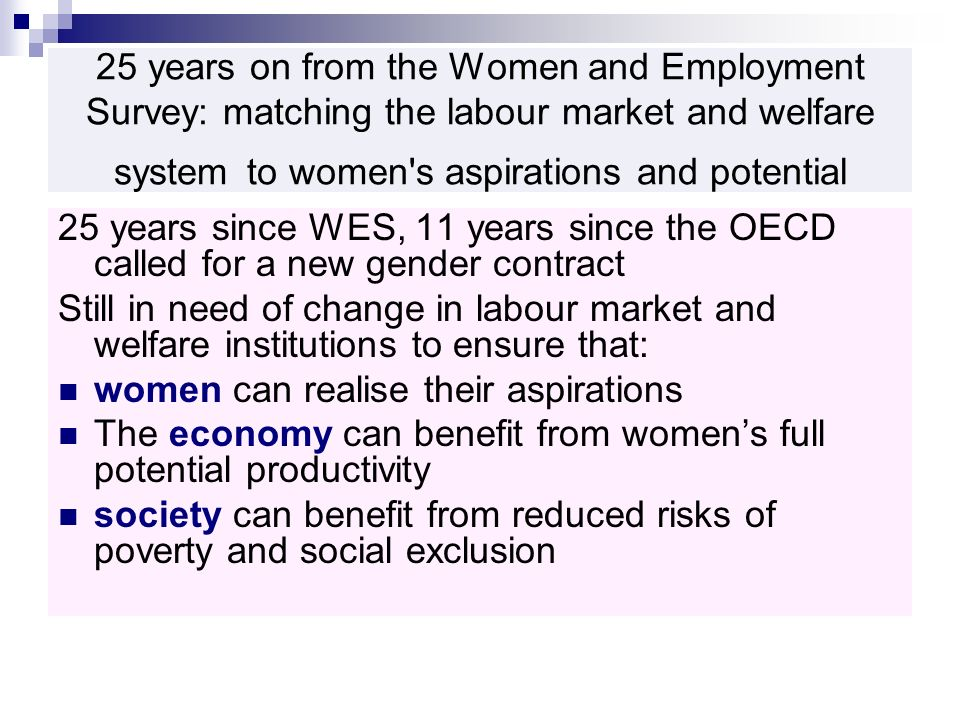25 years on from the Women and Employment Survey: matching the labour market and welfare system to women s aspirations and potential 25 years since WES, 11 years since the OECD called for a new gender contract Still in need of change in labour market and welfare institutions to ensure that: women can realise their aspirations The economy can benefit from womens full potential productivity society can benefit from reduced risks of poverty and social exclusion
