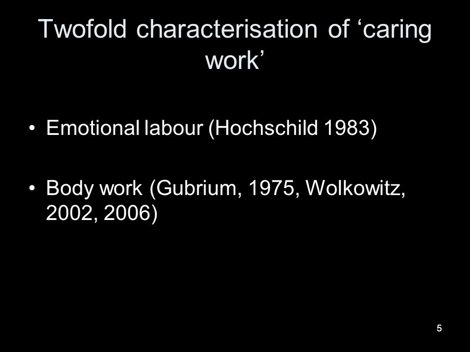 6 Emotional labour Customer orientated bureaucracy (Kerfoot and Korczynski, 2005, Korczynski, 2001) Patients to customers Neo-liberal and managerial organization of care