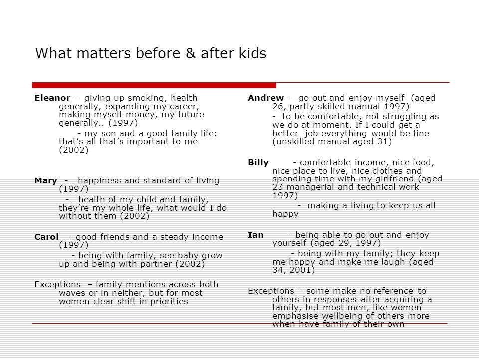 What matters before & after kids Eleanor - giving up smoking, health generally, expanding my career, making myself money, my future generally..