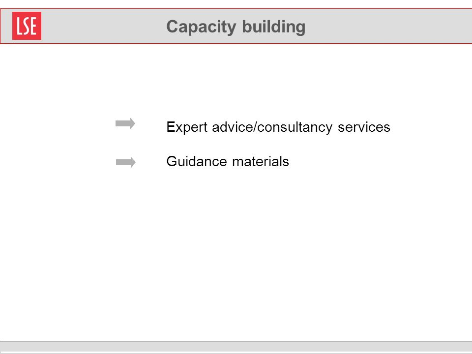 Capacity building Expert advice/consultancy services Guidance materials