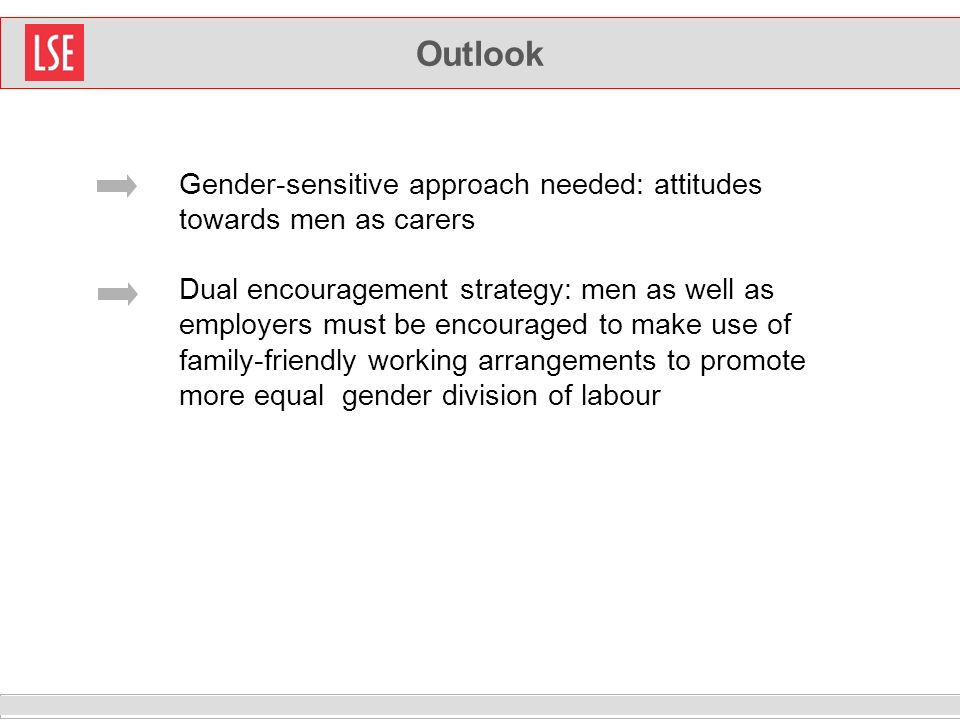 Outlook Gender-sensitive approach needed: attitudes towards men as carers Dual encouragement strategy: men as well as employers must be encouraged to