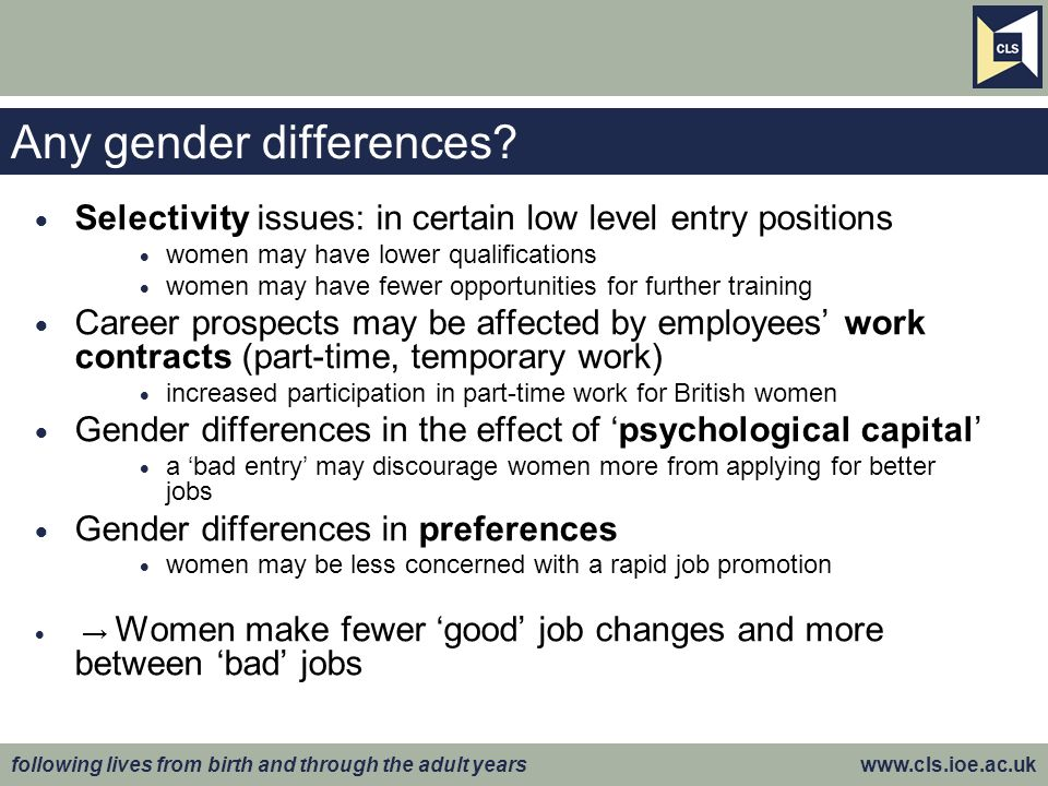 following lives from birth and through the adult years www.cls.ioe.ac.uk Any gender differences.