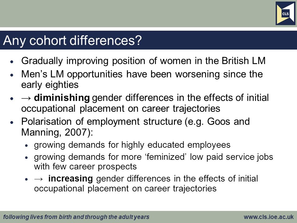 following lives from birth and through the adult years www.cls.ioe.ac.uk Conclusions British womens career opportunities improved a lot in the 1980s and 1990s Womens occupational trajectories, at least up to age 34, have become more similar to those of men However, considerable differences according to occupational level at LM entry: Women face the greatest and growing hindrance to career advancement from the low quality entry jobs LM entry at the bottom of occupational hierarchy: for women: more like a trap for men: more like a stepping-stone Policy implication: Gender inequalities at the lower hierarchical level appear to be strengthening