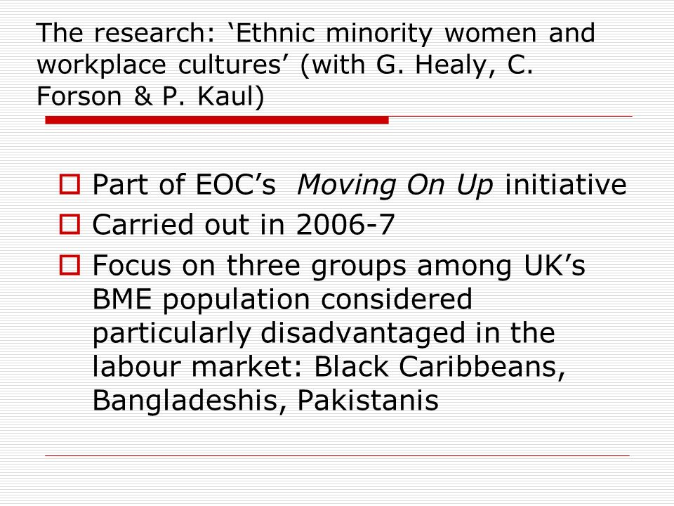 The research: Ethnic minority women and workplace cultures (with G.