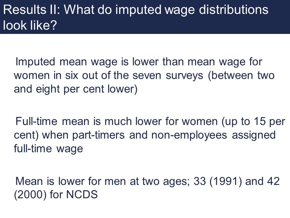 Results II: What do imputed wage distributions look like? Imputed mean wage is lower than mean wage for women in six out of the seven surveys (between
