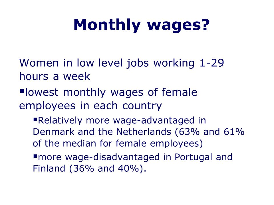 Monthly wages.