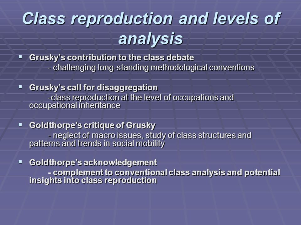 Class reproduction and levels of analysis Gruskys contribution to the class debate Gruskys contribution to the class debate - challenging long-standin