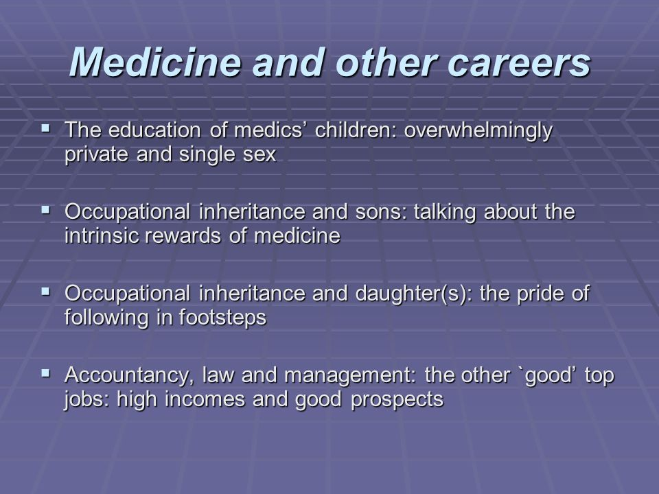 Medicine and other careers The education of medics children: overwhelmingly private and single sex The education of medics children: overwhelmingly pr