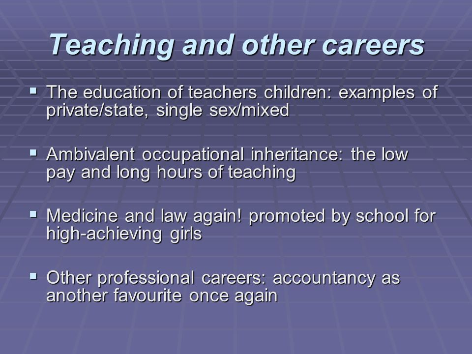 Teaching and other careers The education of teachers children: examples of private/state, single sex/mixed The education of teachers children: example