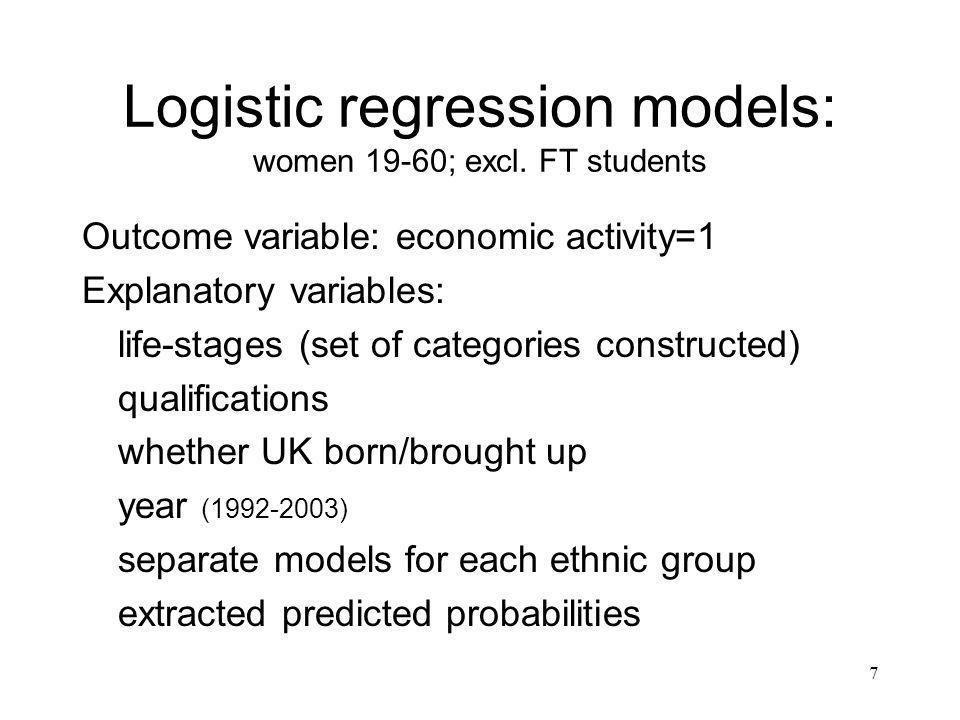 7 Logistic regression models: women 19-60; excl.