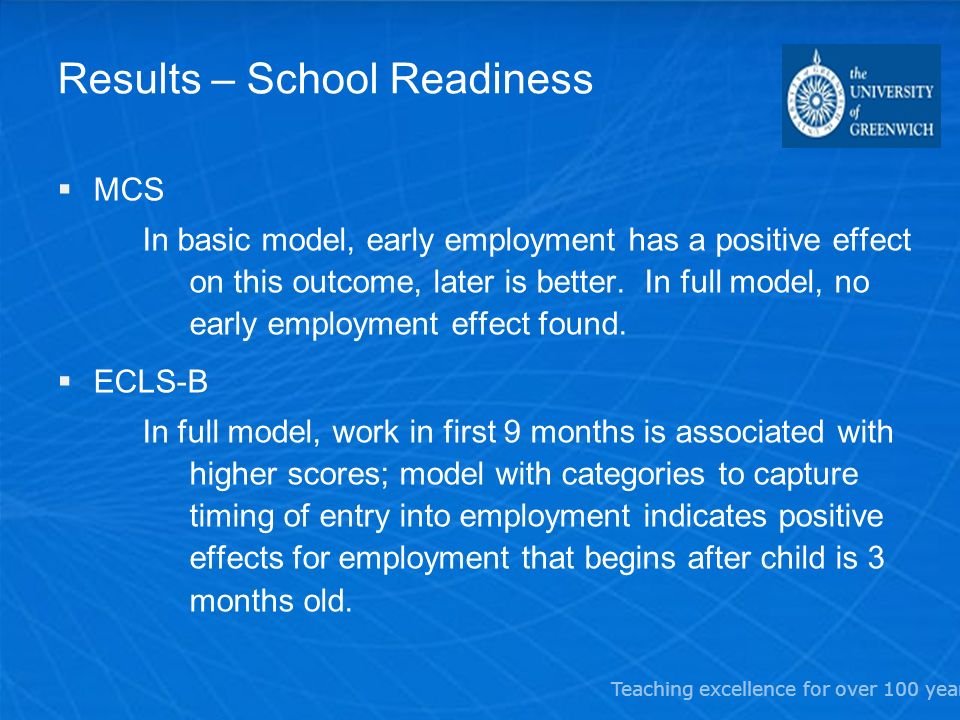 Teaching excellence for over 100 years Results – School Readiness MCS In basic model, early employment has a positive effect on this outcome, later is