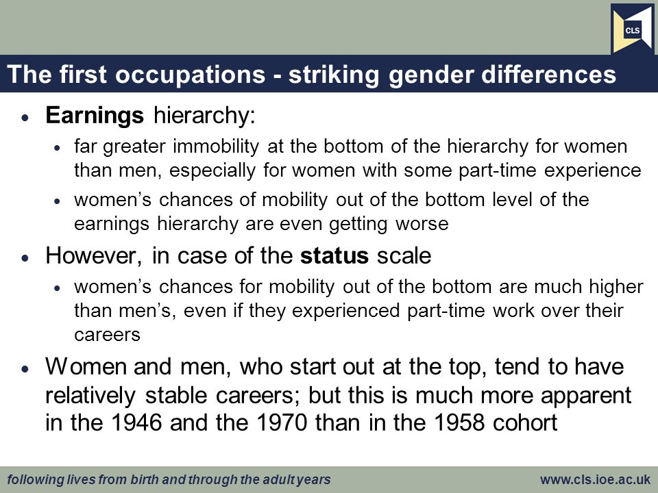 following lives from birth and through the adult years www.cls.ioe.ac.uk The first occupations - striking gender differences Earnings hierarchy: far g