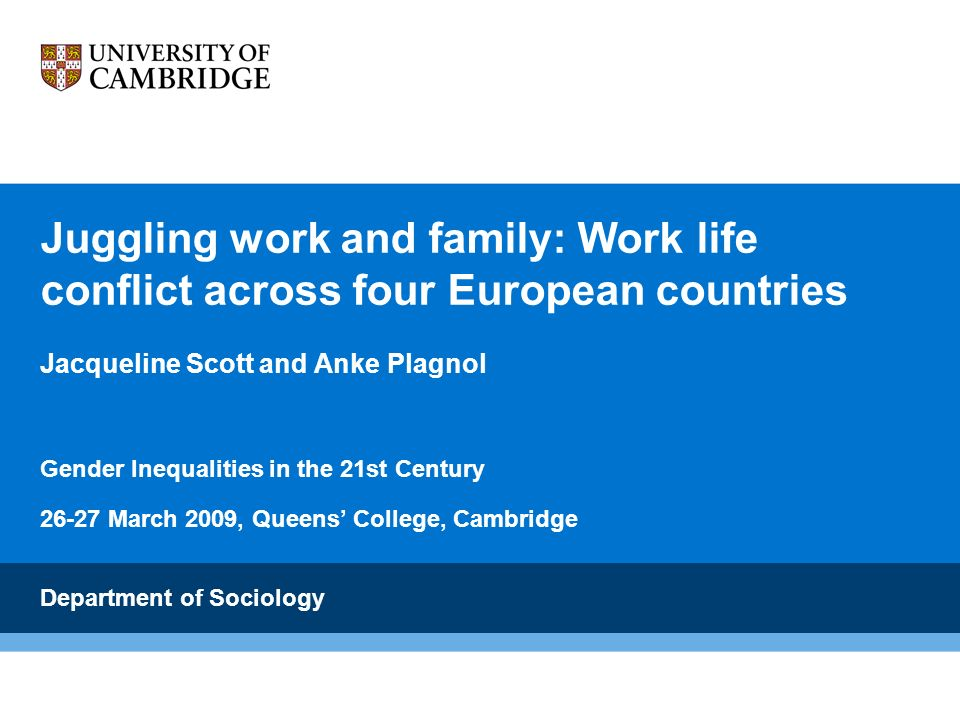 Juggling work and family: Work life conflict across four European countries Jacqueline Scott and Anke Plagnol Gender Inequalities in the 21st Century 26-27 March 2009, Queens College, Cambridge Department of Sociology