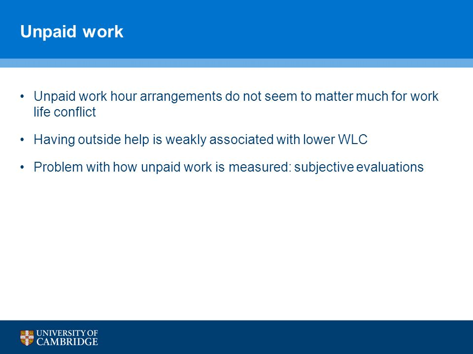 Unpaid work Unpaid work hour arrangements do not seem to matter much for work life conflict Having outside help is weakly associated with lower WLC Problem with how unpaid work is measured: subjective evaluations
