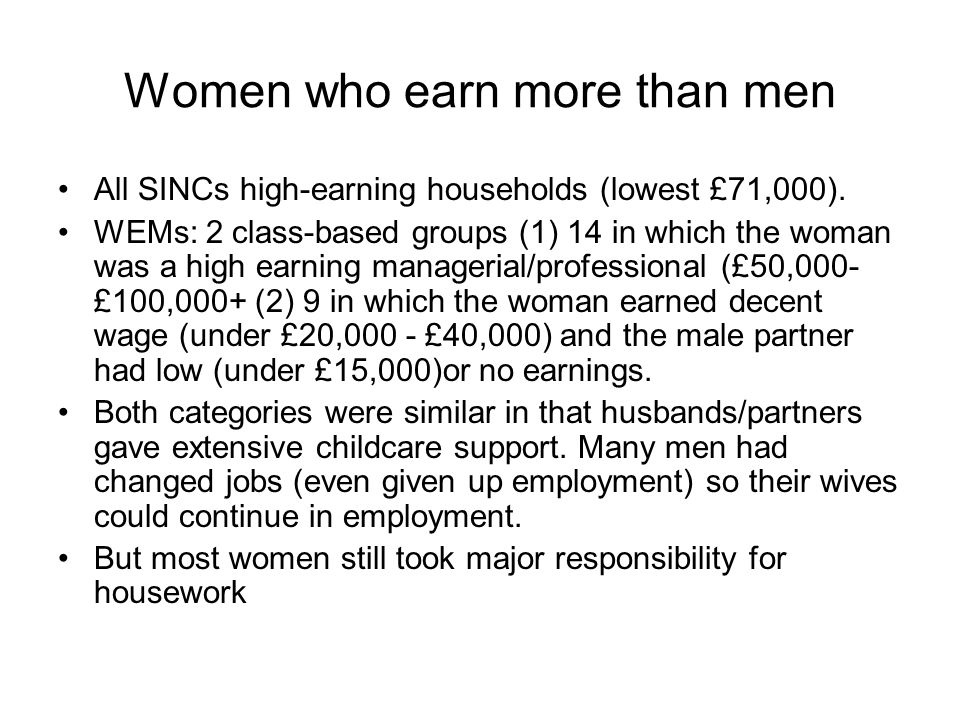 Women who earn more than men All SINCs high-earning households (lowest £71,000). WEMs: 2 class-based groups (1) 14 in which the woman was a high earni