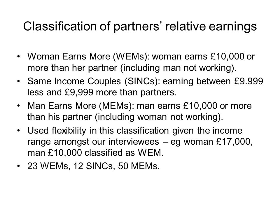 Classification of partners relative earnings Woman Earns More (WEMs): woman earns £10,000 or more than her partner (including man not working). Same I