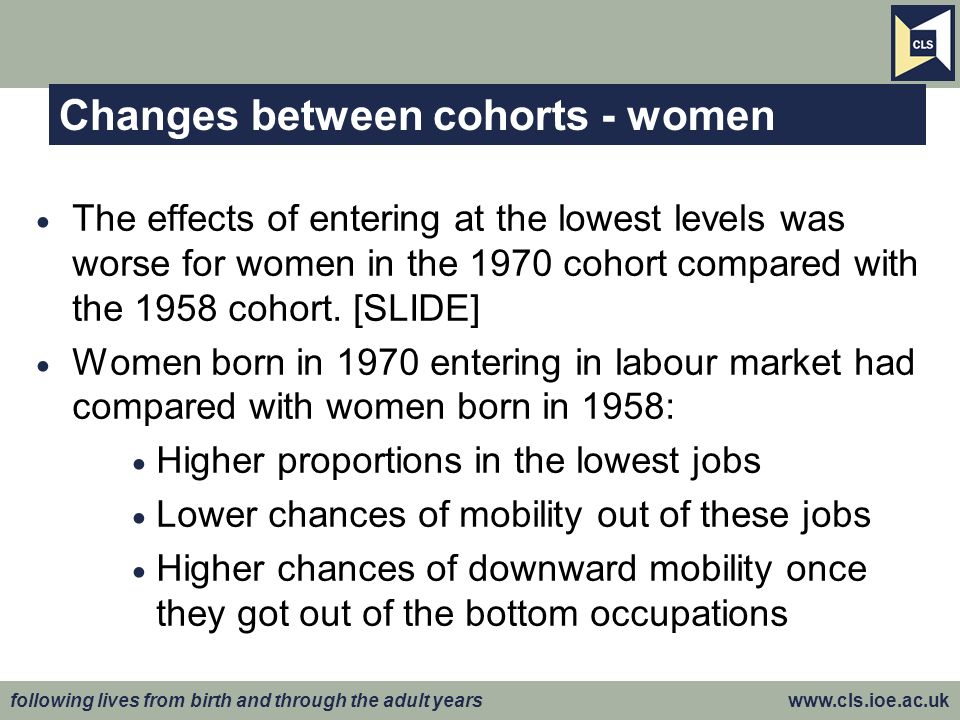 following lives from birth and through the adult years www.cls.ioe.ac.uk Changes between cohorts - women The effects of entering at the lowest levels was worse for women in the 1970 cohort compared with the 1958 cohort.