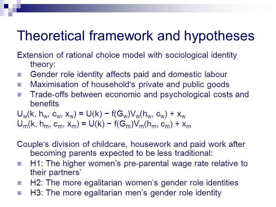 Theoretical framework and hypotheses Extension of rational choice model with sociological identity theory: Gender role identity affects paid and domes