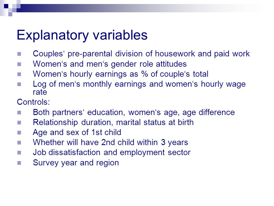 Explanatory variables Couples pre-parental division of housework and paid work Womens and mens gender role attitudes Womens hourly earnings as % of co