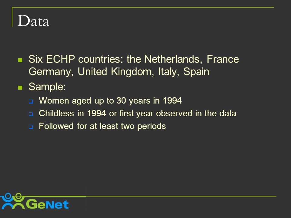 Data Six ECHP countries: the Netherlands, France Germany, United Kingdom, Italy, Spain Sample: Women aged up to 30 years in 1994 Childless in 1994 or first year observed in the data Followed for at least two periods