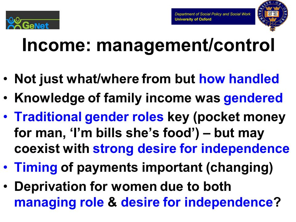 Income: management/control Not just what/where from but how handled Knowledge of family income was gendered Traditional gender roles key (pocket money for man, Im bills shes food) – but may coexist with strong desire for independence Timing of payments important (changing) Deprivation for women due to both managing role & desire for independence?