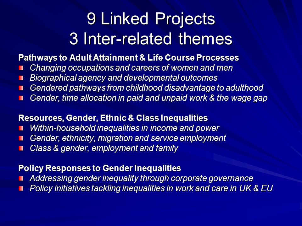 9 Linked Projects 3 Inter-related themes Pathways to Adult Attainment & Life Course Processes Changing occupations and careers of women and men Biogra
