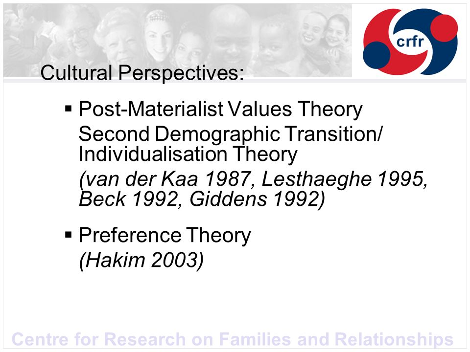 Centre for Research on Families and Relationships Cultural Perspectives: Post-Materialist Values Theory Second Demographic Transition/ Individualisati