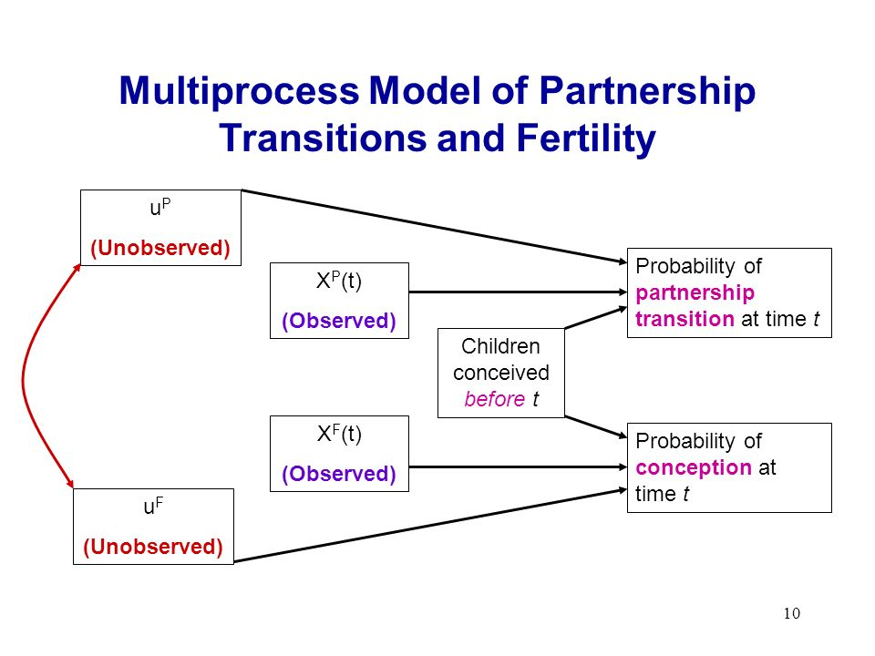 10 Multiprocess Model of Partnership Transitions and Fertility Probability of partnership transition at time t Probability of conception at time t Children conceived before t X P (t) (Observed) X F (t) (Observed) u F (Unobserved) u P (Unobserved)