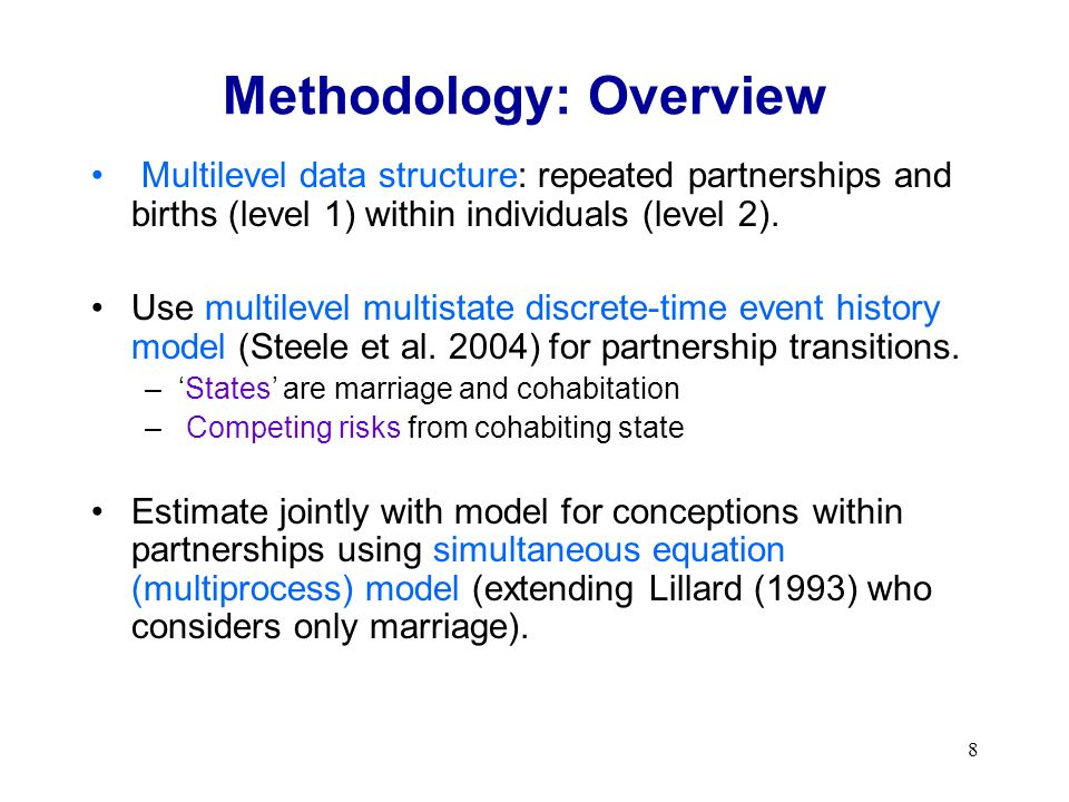8 Methodology: Overview Multilevel data structure: repeated partnerships and births (level 1) within individuals (level 2).